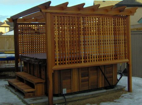 A soak in the privacy of your own hot tub is a great way for Hot tub enclosures plans