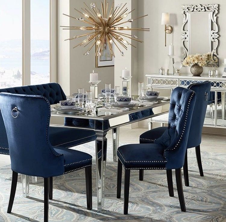 Loving The Royal Blue And Gold Together Modern Dining Room