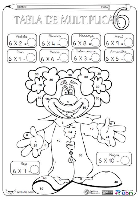 Fichas para colorear de las tablas de multiplicar. Aula de Elena ...
