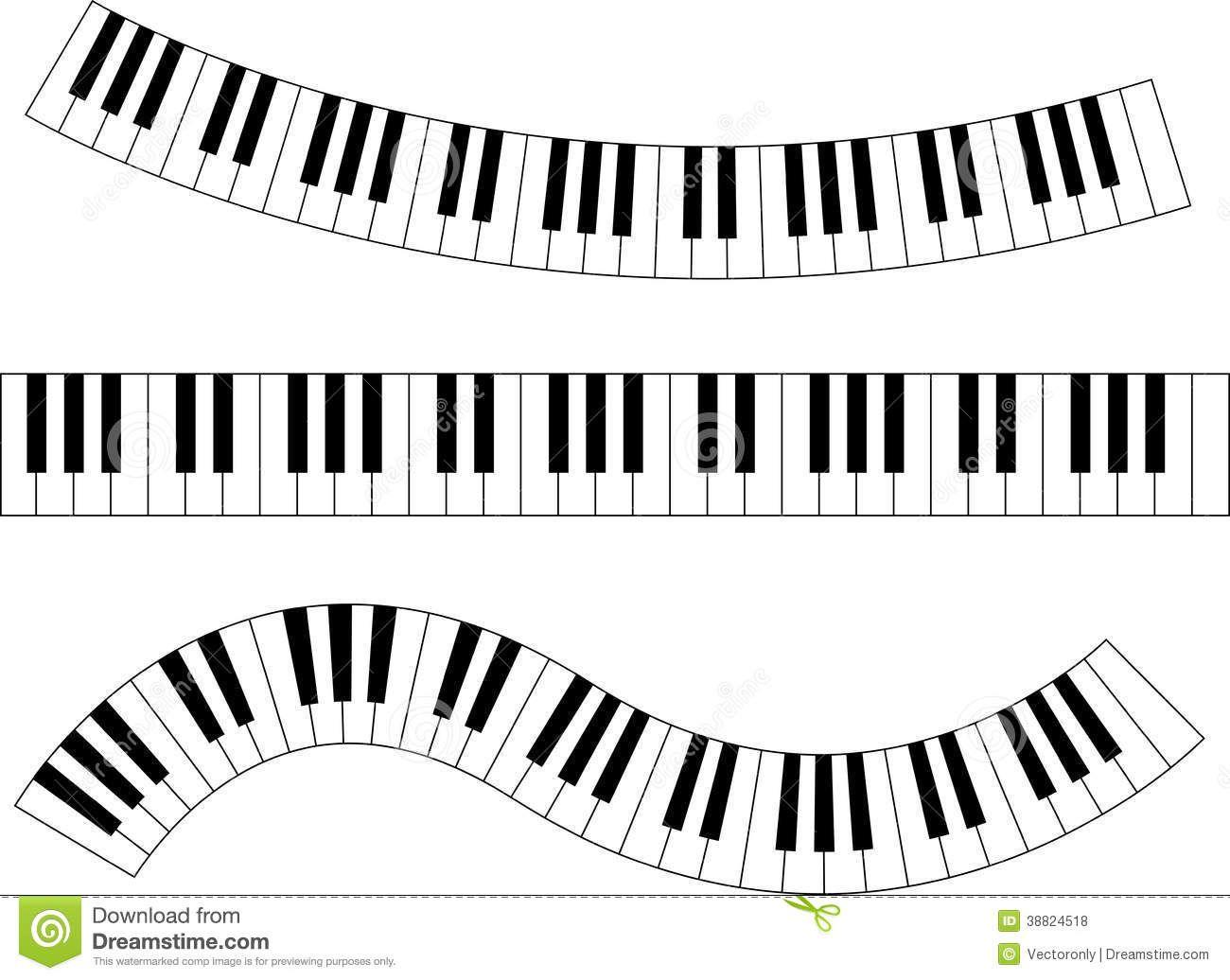 Wavy Piano Keys Drawing Piano Keyboard Stock Vector