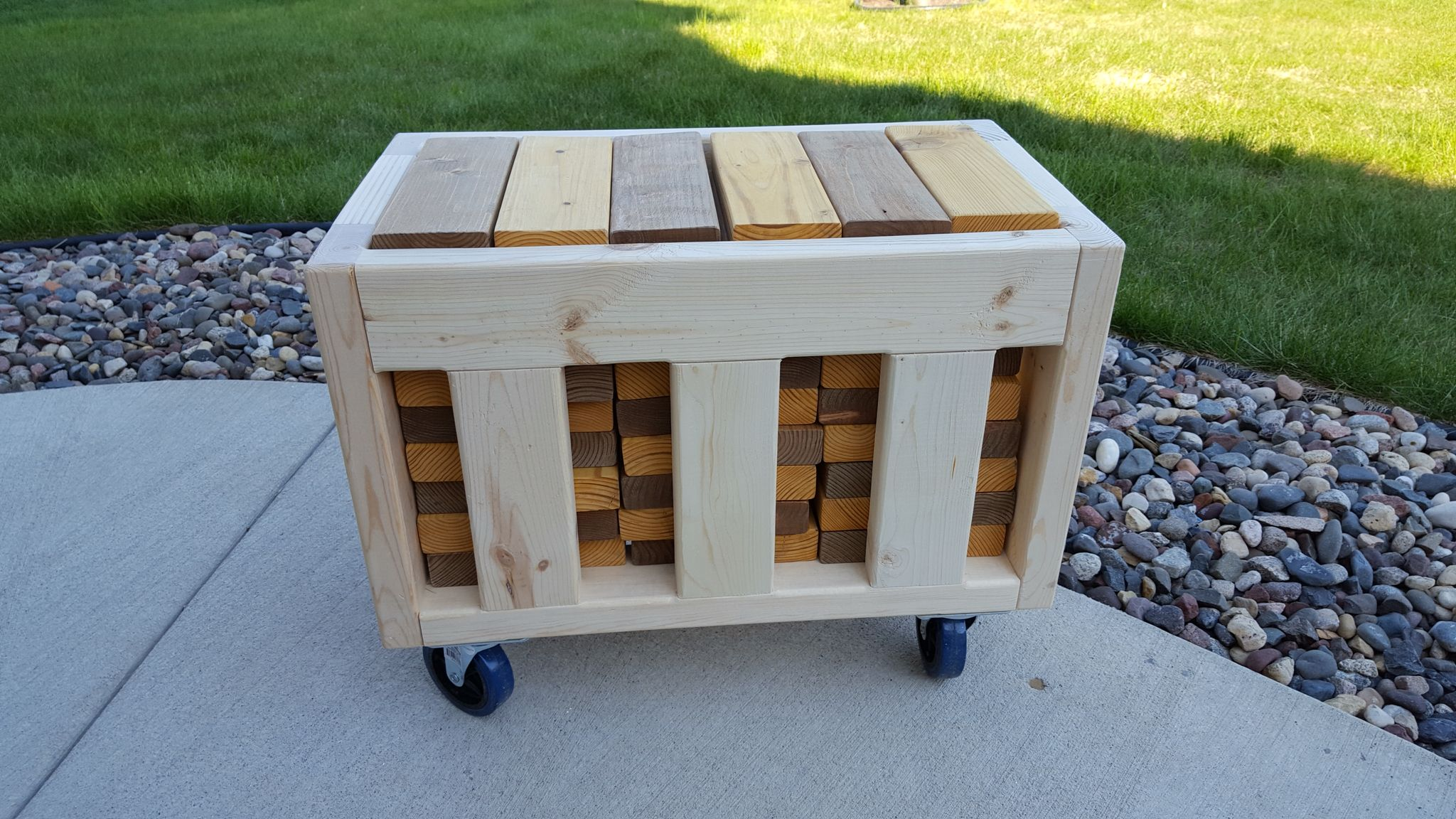 Outdoor Jenga Rolling Crate. Built From 2x4s.