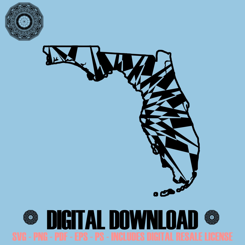 Florida map mandala svg november collection digital