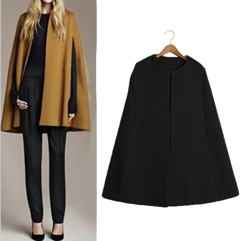 34d64fd9a75 Women Ladies Batwing Wool Poncho Winter Warm Coat Jacket Loose Cloak Cape  Parka