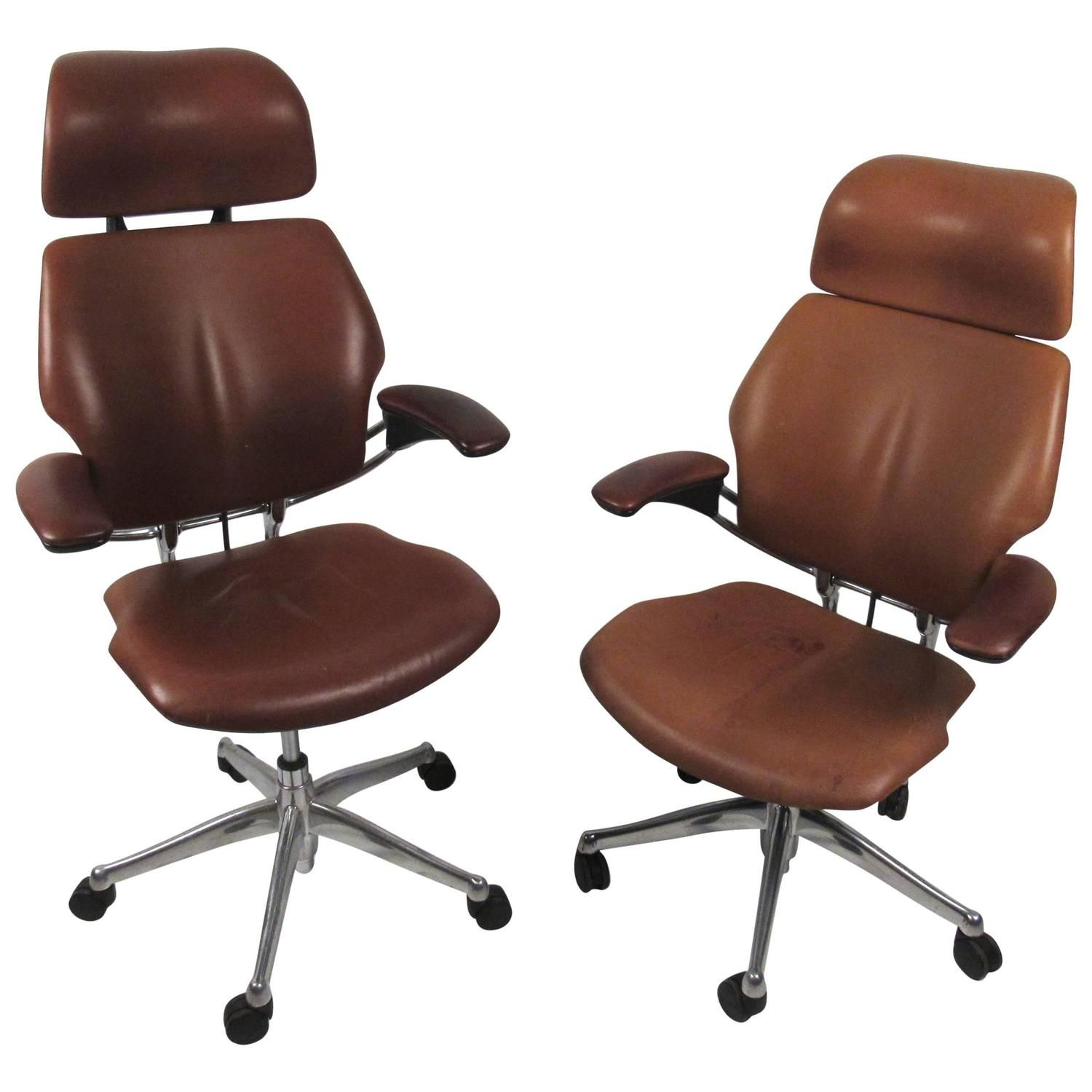 Midcentury Style Ergonomic Leather Swivel Desk Chair