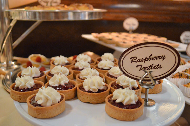 Raspberry tartlets from Shaw's Crab House in Chicago.