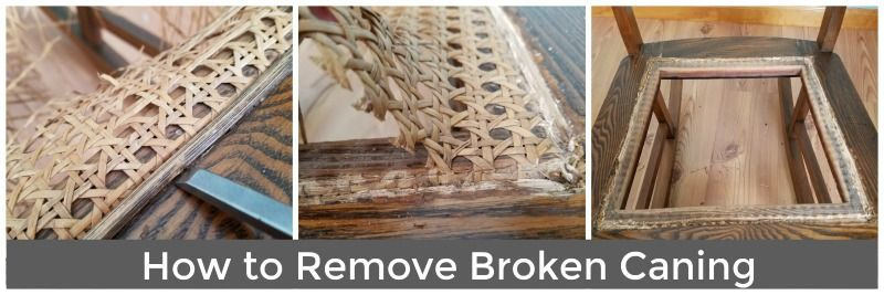 How to remove broken caning and replace with a fabric seat