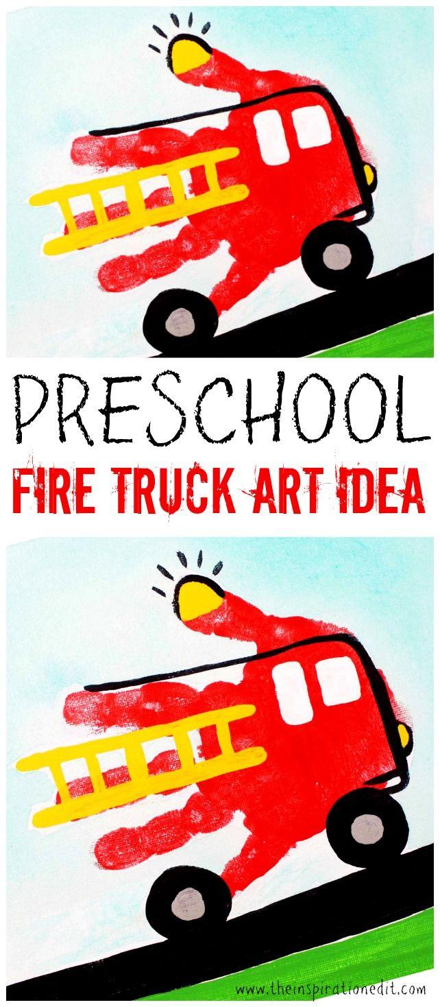 Preschool Fire Truck Craft Handprint Art