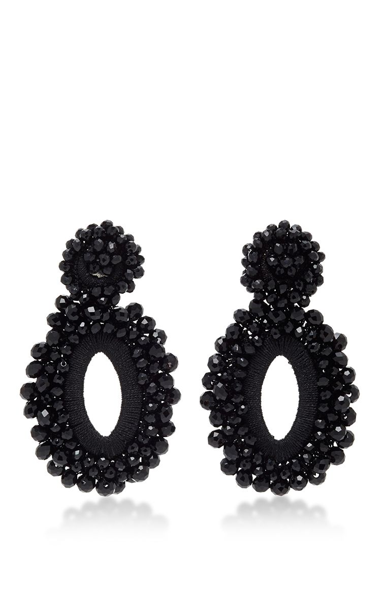 M O Exclusive Beaded Drop Earrings In Black By Bibi Marini For Preorder