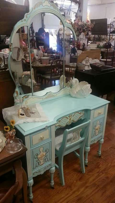 Vintage Vanity Table Blue Green Aqua Painted With Gold Cream