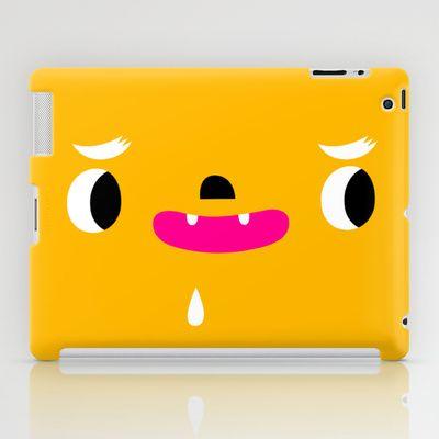 Yellow head iPad Case by simon oxley idokungfoo.com - $60.00