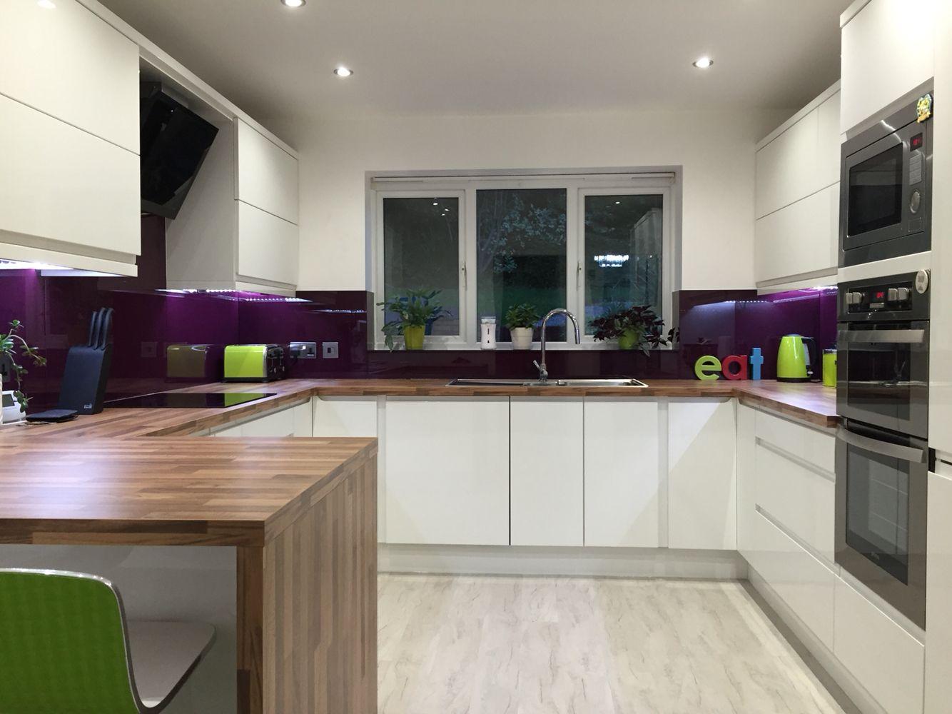 Contemporary White Gloss Kitchen Purple Glass Splash Back