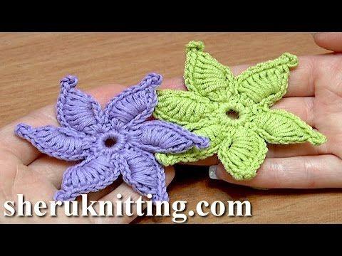 How To Crochet Flower Thick Petals With Picot Tutorial 45 Gwiazdka na szydełku - YouTube