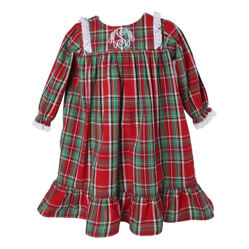 Holiday Plaid Gown with Eyelet Trim by Cecil and Lou - A soft red ...
