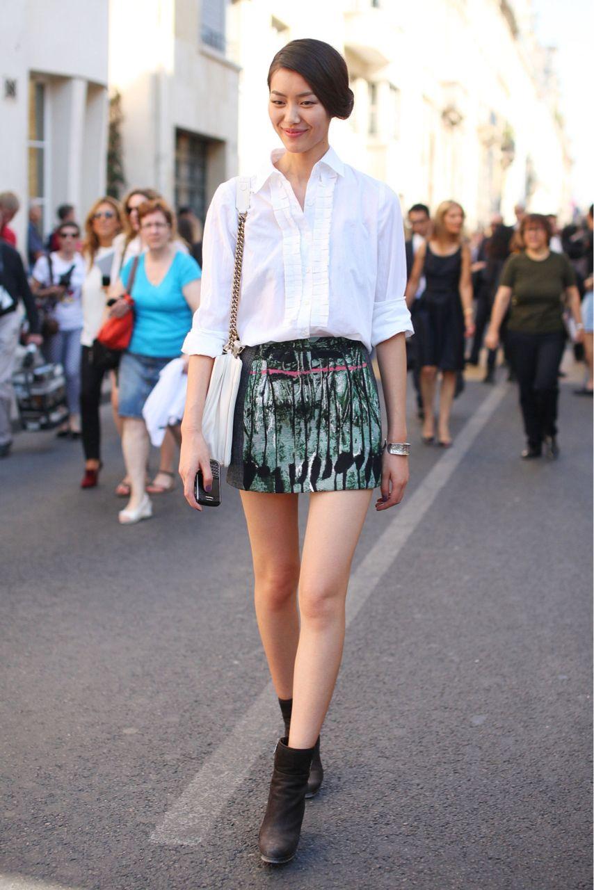 white shirt and print skirt
