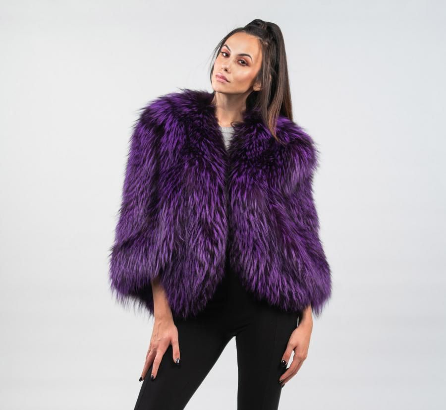 836169489 Purple Fox Fur Cape | Fur coats 9 | Fur cape, Fox fur, Fur
