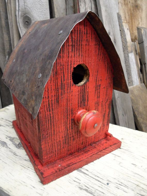 Barn Birdhouse, Rustic wooden birdhouse, Functional ...