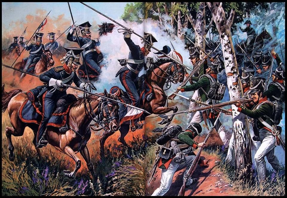 French Lancers attack Russian Grenadiers - this is a romantic portrayal of the Lancers, but it is impractical that cavalry would be used to attack infantry in the woods.