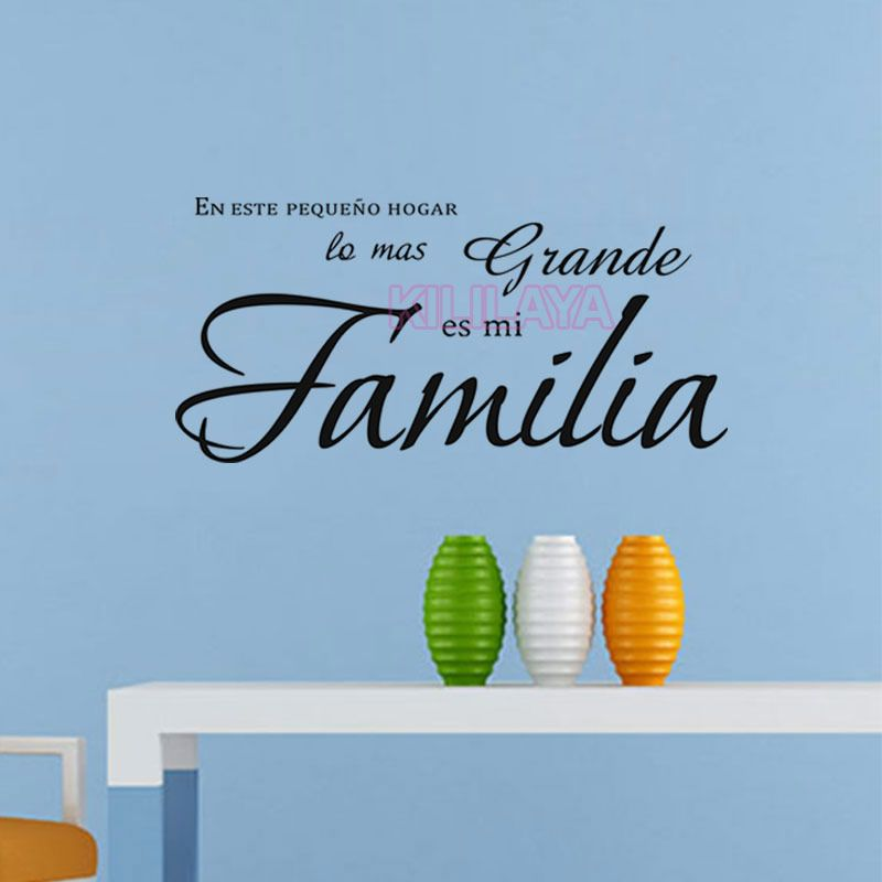 In This House Wall Stickers Spanish Text Home Decor Living Room Wall Decals  Vinyl Removable Character Sticker