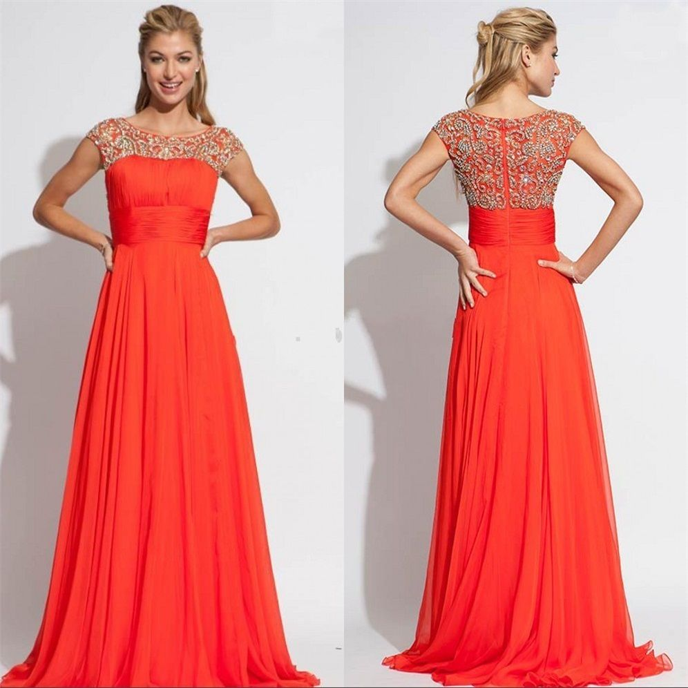 Click to buy ucuc sexy beaded cap sleeves chiffon long orange prom