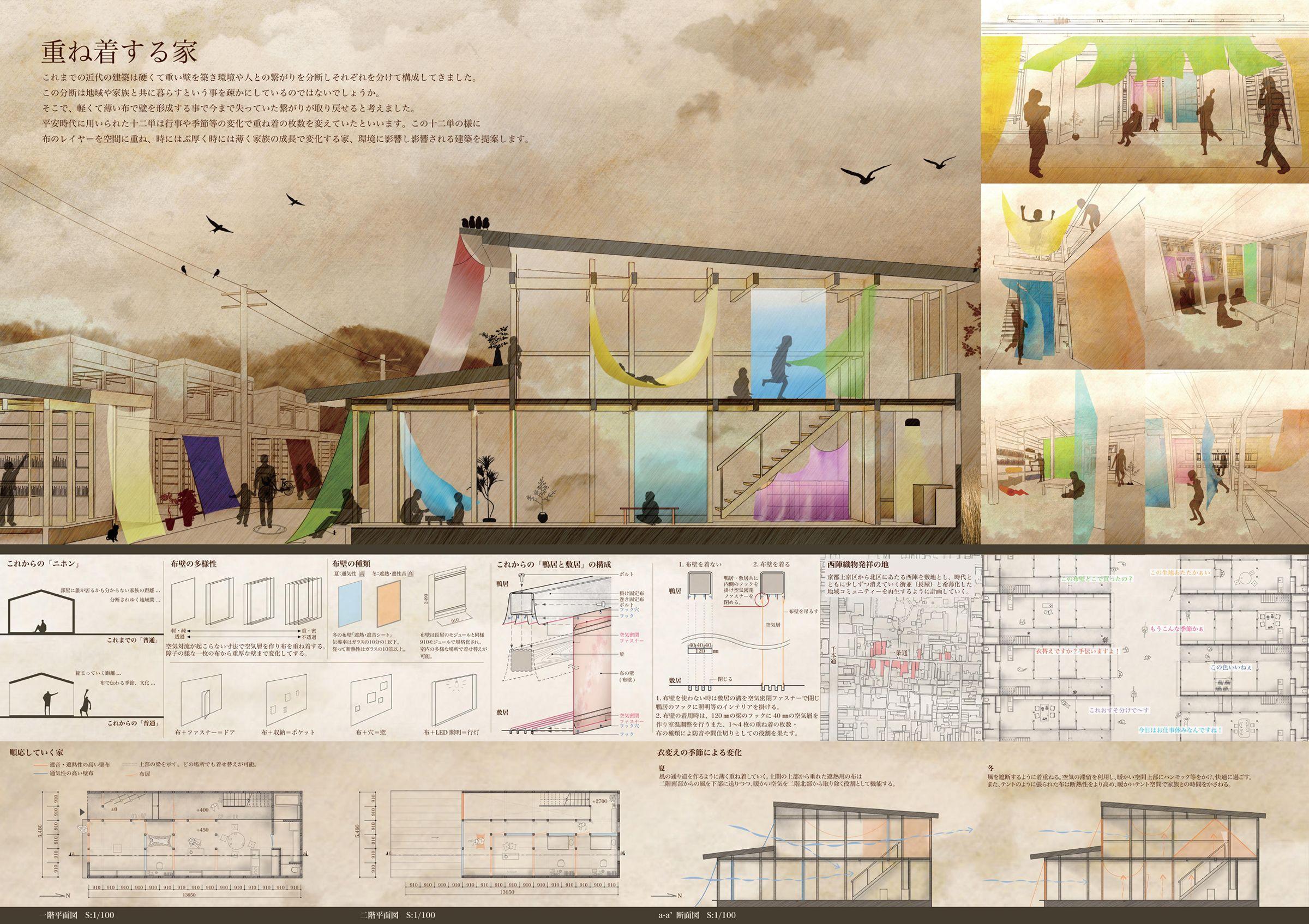 ウッドフレンズ 第1回住宅設計 学生アイデアコンペ 設計コンペ 建築プレゼンテーションボード 建築 ポートフォリオレイアウト