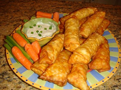 Our Blissfully Delicious Life: Buffalo Chicken Egg Rolls with Blue Cheese Dip
