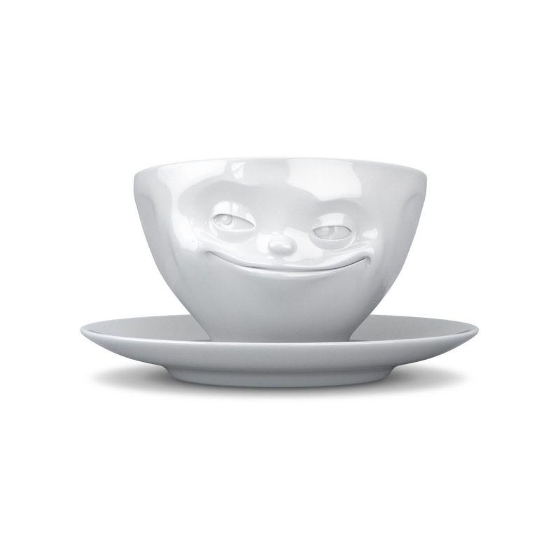 fiftyeight kaffeetasse grinsend in wei tasse mit henkel und unterteller fassungsverm gen ca. Black Bedroom Furniture Sets. Home Design Ideas
