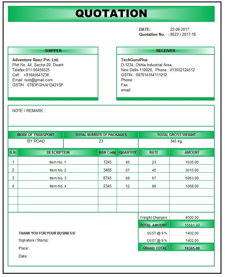 Quotation Format In Excel Gst In 2020 Quotation Format