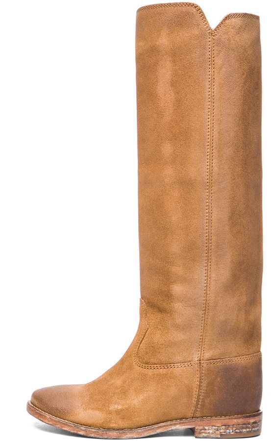 2f10cf672a01 Isabel Marant Cleave Calfskin Velvet Leather Boots in Camel on shopstyle.com