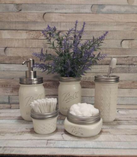 Beige Joanna Gaines/ Fixerupper Style Mason Bathroom Accessories with Lavender   #Fixerupper #southernfarmhouse #kitchen #facebookmarketplace #Joannagaines #bluemasonjar #toothbrushjar #modernfarmhouse #greenmasonjar #farmhousemagazine