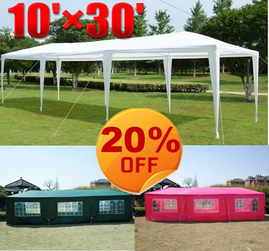 Outdoor 10u0027 X 20u0027 Gazebo POP UP Party tent patio Wedding Canopy BBQ w/ sidewalls & Outdoor 10u0027 X 20u0027 Gazebo POP UP Party tent patio Wedding Canopy ...