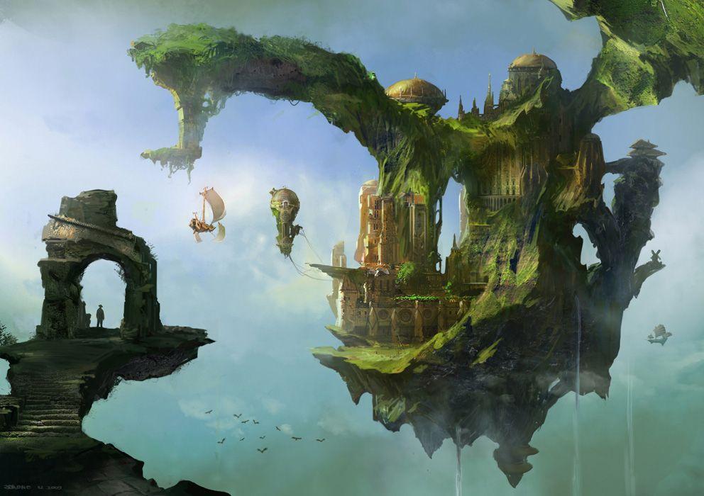 Floating palace concept art fantasycoolvibe digital