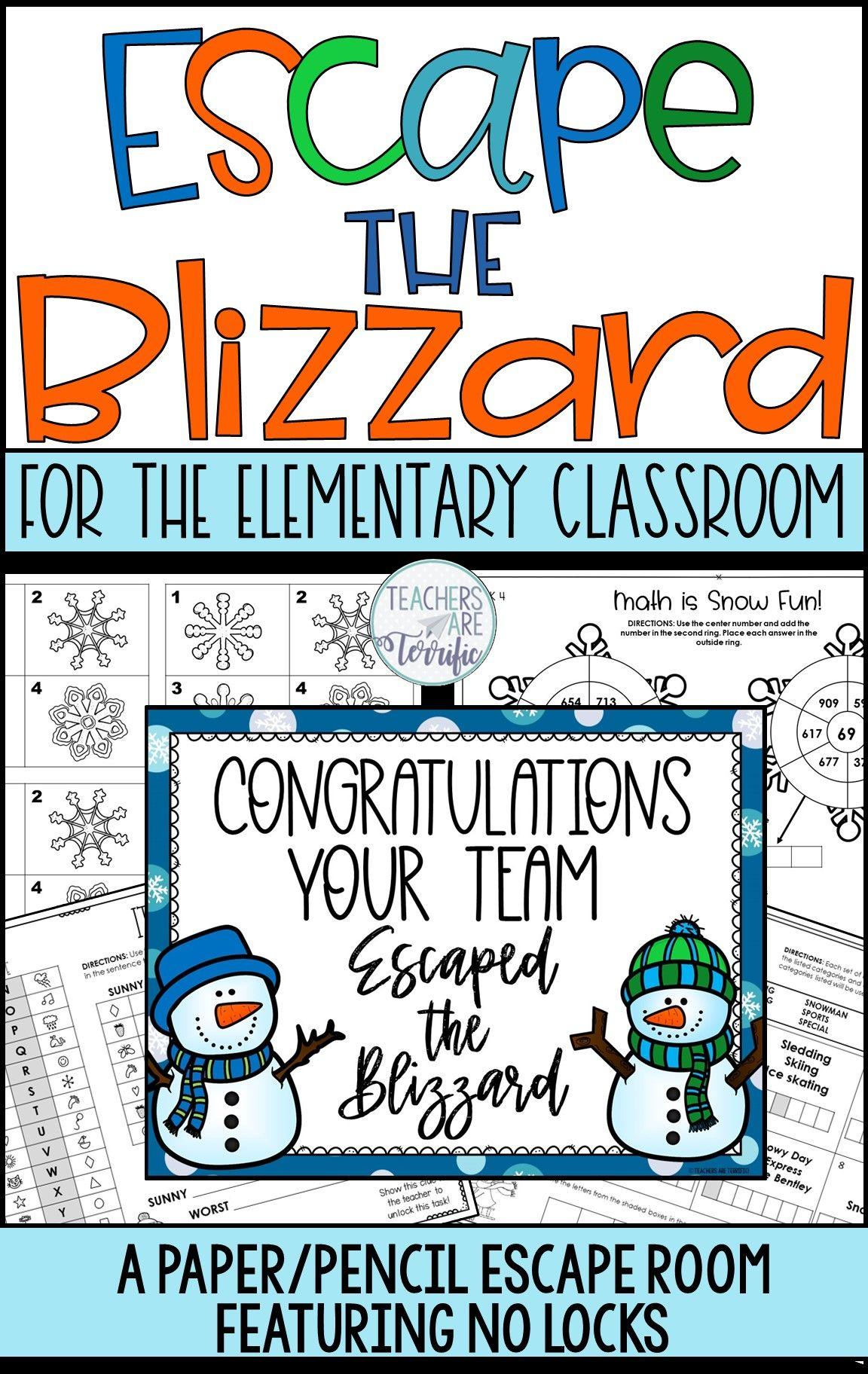 Escape the Blizzard No-Locks Escape Room | Elementary ...