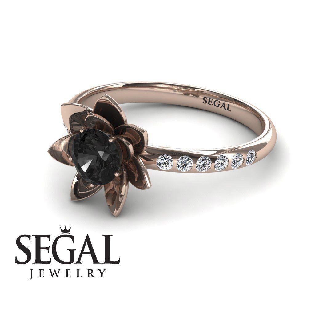 Lotus Flower Black Diamond Ring Lotus No 5 Black Diamond Ring Engagement Black Diamond Ring Lotus Engagement Ring