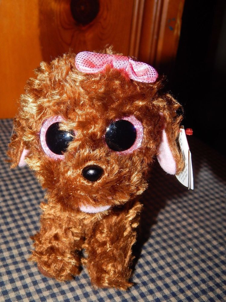 Maddie Ty Beanie Boos 6 Inch brown dog curly hair W  Pink Bow and Sparkle  Eyes  Ty e1aada865fa2
