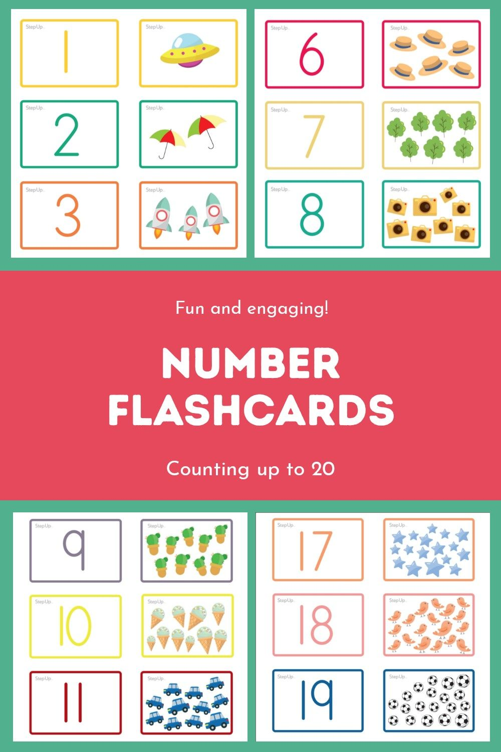 Counting Up To 20 Number Flashcards Flashcards Number Flashcards Math Coloring