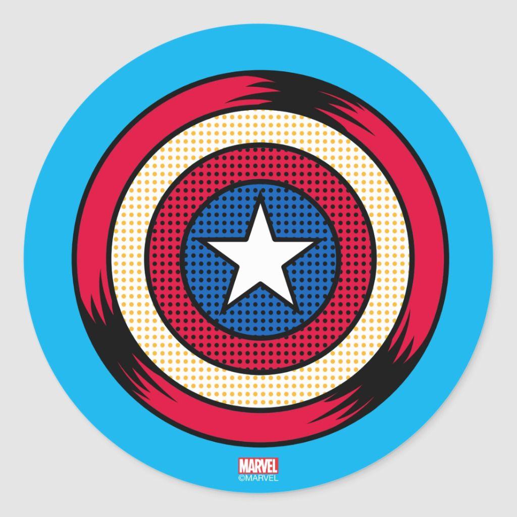 Captain America Halftone Shield Classic Round Sticker Zazzle Com In 2021 Captain America Shield Drawing Captain America Logo