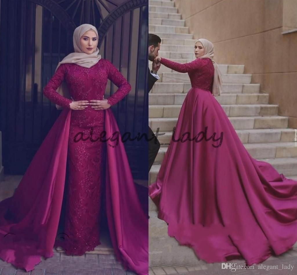 00b1a8a3f90 2018 Muslim Long Sleeves Evening Dresses With Detachable Train Sheath Lace  Beaded Prom Dress Long Arabic