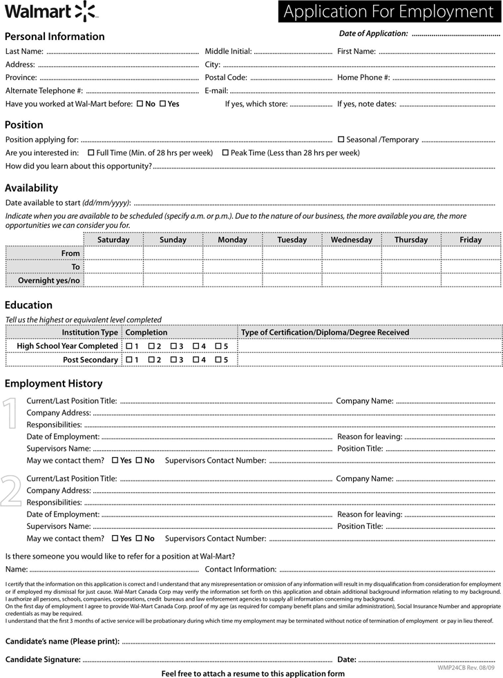 Walmart Application Form  Employment Applications