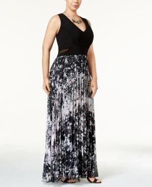 67afdf223079 Xscape Plus Size Printed Pleated Chiffon Gown - Black/White/Pink 20W ...