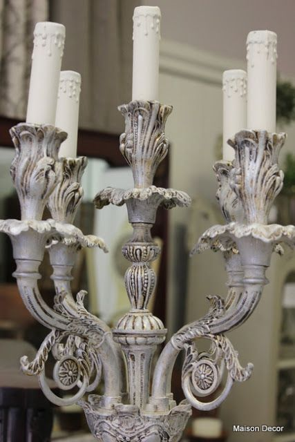 Silver And Grey For A Gold Candelabra Lamp Gold Candelabra Annie Sloan Paints Chandelier Makeover