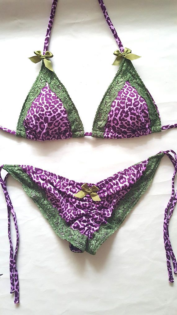 de320f73d65 LEOPARD PRINT BIKINI Brazilian Bikini Scrunch Bottom Bikini Swimsuit Olive  Lace Trim & Satin Bows Animal