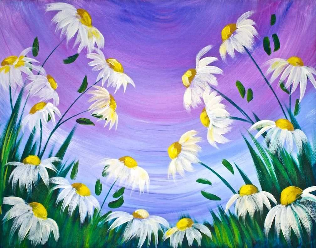 Acrylic Painting Lesson For Beginners New Simple Daisy Beginners
