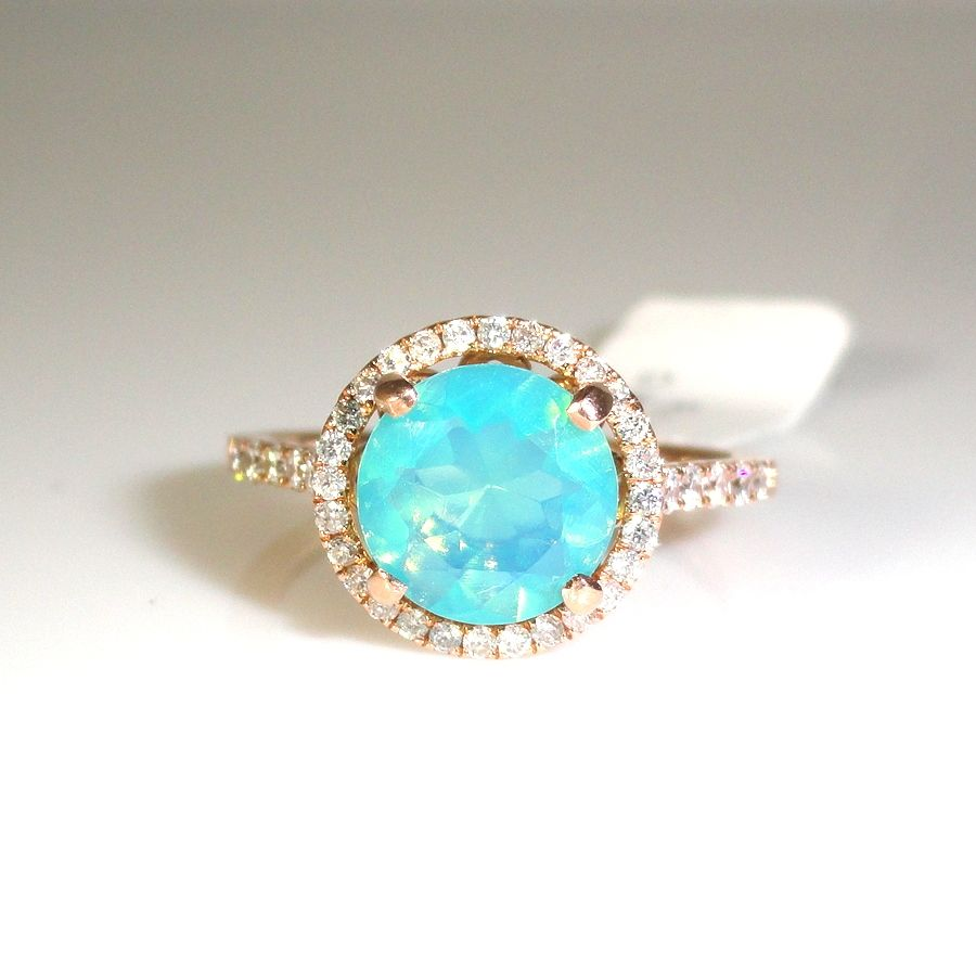 106 ETHIOPIAN BLUE OPAL WITH DIAMOND HALO RING IN 14K ROSE GOLD