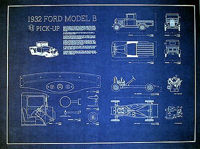Vintage Ford Pickup 1932 Factory Blueprint Plan Drawing 17 X 23