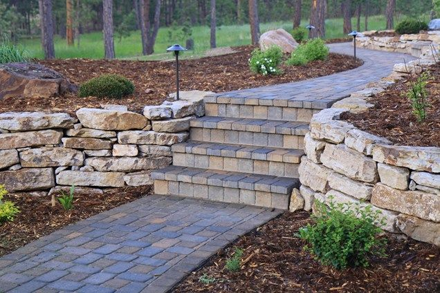 Pin By Angela Budde On Garden Landscape Walls Paver Walkway Stacked Stone Walls