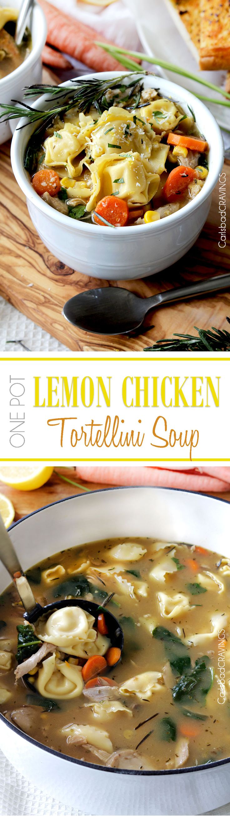 30 Minute, One Pot Lemon Chicken Tortellini Soup bursting with pillows of cheesy tortellini, tender chicken, and vegetables kissed with bright, refreshing lemon juice.  the best lemon soup!  #30minute #soup #lemonsoup #onepot #chickensoup #tortellini