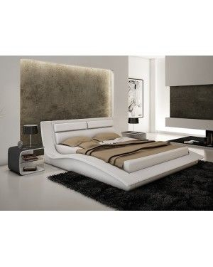 JNM Furniture WAVE Chic Design With A Subtle Touch Of Elegance White  Leather Headboard Wave Design