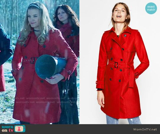 fddb5ee6c6a03c Polly s red trench coat on Riverdale. Outfit Details  https   wornontv.