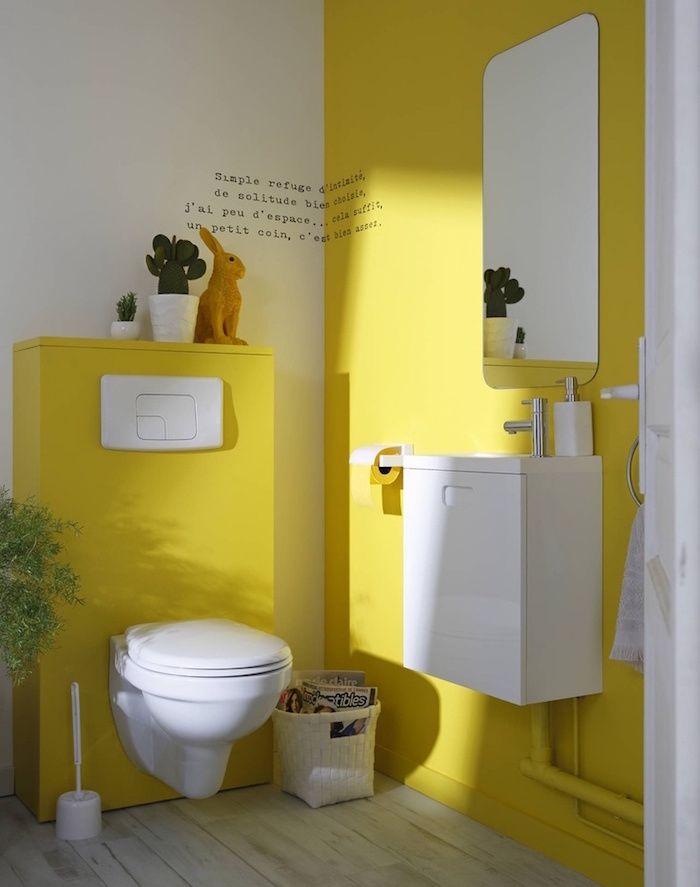 idee décorer ses toilettes de façon originale couleur jaune et blanc - Comment Decorer Ses Toilettes