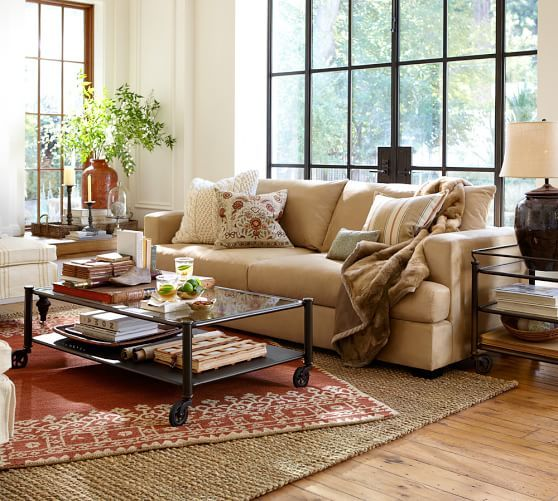 Desa Bordered Hand Tufted Wool Rug Terracotta In 2020 Rugs In Living Room Pottery Barn Living Room Living Room Rug Placement